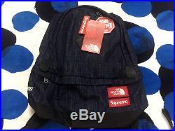 2015 Ss Supreme Cdg Box Logo The North Face Denim Backpack Shoulder Tnf Book Bag