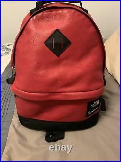 FW17 Supreme x The North Face Leather Day Pack Red 100% Authentic Backpack used