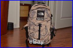 Supreme The North Face Hot Shot Tan Venture Backpack Box Logo Maps Expedition