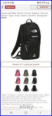 Supreme The North Face Summit Series Outer Tape Seam Route Rocket Black Backpack