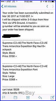 Supreme/The North Face Trans Antartica Big Haul Backpack CONFIRMED