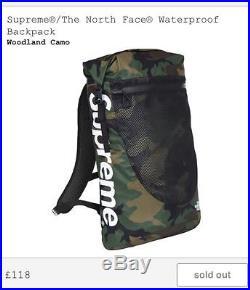Supreme x Northface Waterproof Backpack Woodland Green Camo Urban Explore