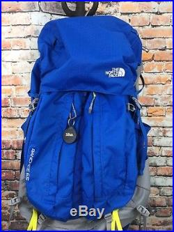 The North Face Banchee 65L Liter Light Camping Hiking Backpack Blue with Compass