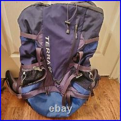 The North Face Terra 60L Internal Frame BackPack Hiking Trekking Pack Med Blue