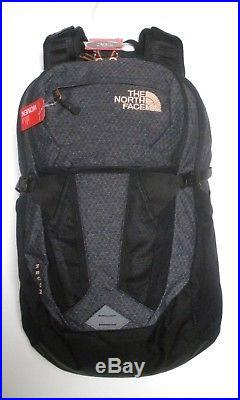 The North Face Womens Recon Laptop Backpack- Daypack -a3kv2- Black Heather/gold