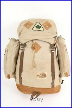 Vintage 70s THE NORTH FACE Brown Label Nylon/Leather Backpack Bag USA