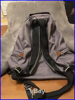 Vintage Gray The North Face Backpack Day Pack Brown Label Leather Bottom Bag