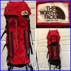Vintage The North Face Brown Label Made In USA Backpack Hiking Red & Black 80s