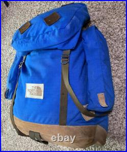 Vtg 70's The North Face Leather Bottom Day Pack Backpack Brown Tag USA Blue
