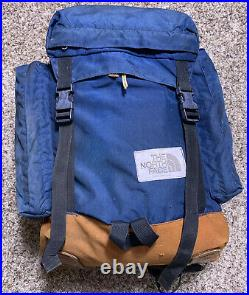 Vtg 70's The North Face Leather Bottom Day Pack Backpack USA Made Navy Blue