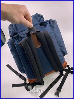 Vtg 70's The North Face Leather Bottom Day Pack Backpack USA Navy Blue Brown tag